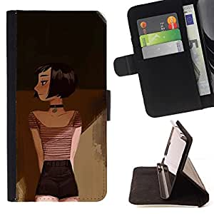 Momo Phone Case / Flip Funda de Cuero Case Cover - Dibujo Pintura Arte Profundo Emo Hipster - Samsung Galaxy A5 ( A5000 ) 2014 Version