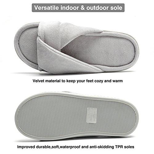 with Women Velvet House Waterproof Memory Gray Cross Slippers on Foam for Straps HAWK FLY qan87Xxpww