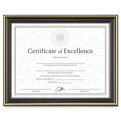 Dax N2709N6T Gold-Trimmed Document Frame w/Certificate, Wood, 8-1/2 x 11, Black ()