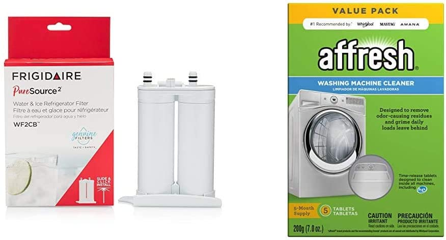 Frigidaire WF2CB PureSource2 Water Filter Cartridge, 1 Count, White & Affresh W10549846 Washing Machine Cleaner | Cleans Front Top Load Washers, Including HE, 5 Tablets