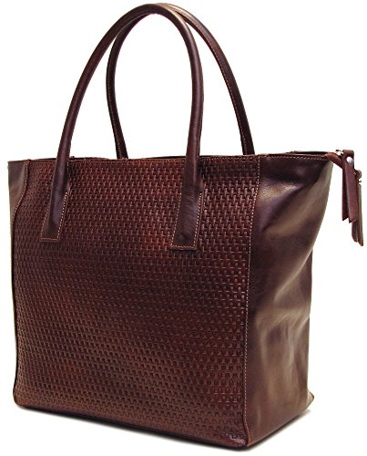 - Floto Women's Firenze Shoulder Tote Bag in Stamped Woven Leather