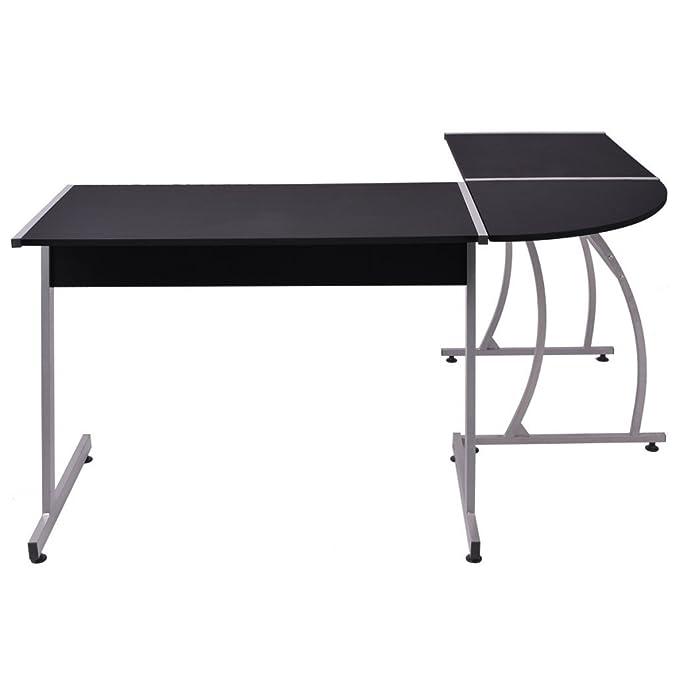 Computertisch Schreibtisch Große Eckschreibtisch Bürotisch PC Tisch Mit Und  Tastaturauszug, Für Hausaufgaben Und Büroarbeit 148x112x74 Cm ...