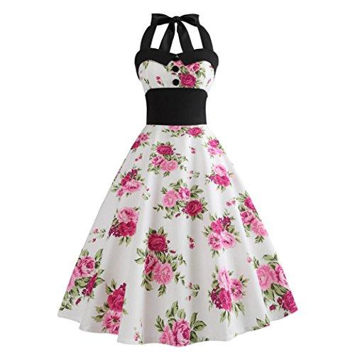 DongDong Big Dress Vintage Printing Bodycon Women Halter Sleeveless Evening Party Prom Swing Dress White