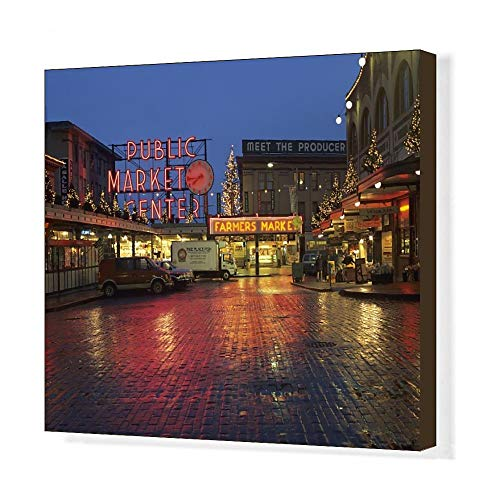 - Media Storehouse 20x16 Canvas Print of WA, Seattle, Market Entrance at Pike Place Market Before Dawn (8154681)