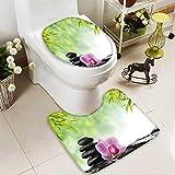Toilet Carpet Floor mat spa Concept Zen Basalt Black Stones and Pink Orchid 2 Piece Shower Mat Set