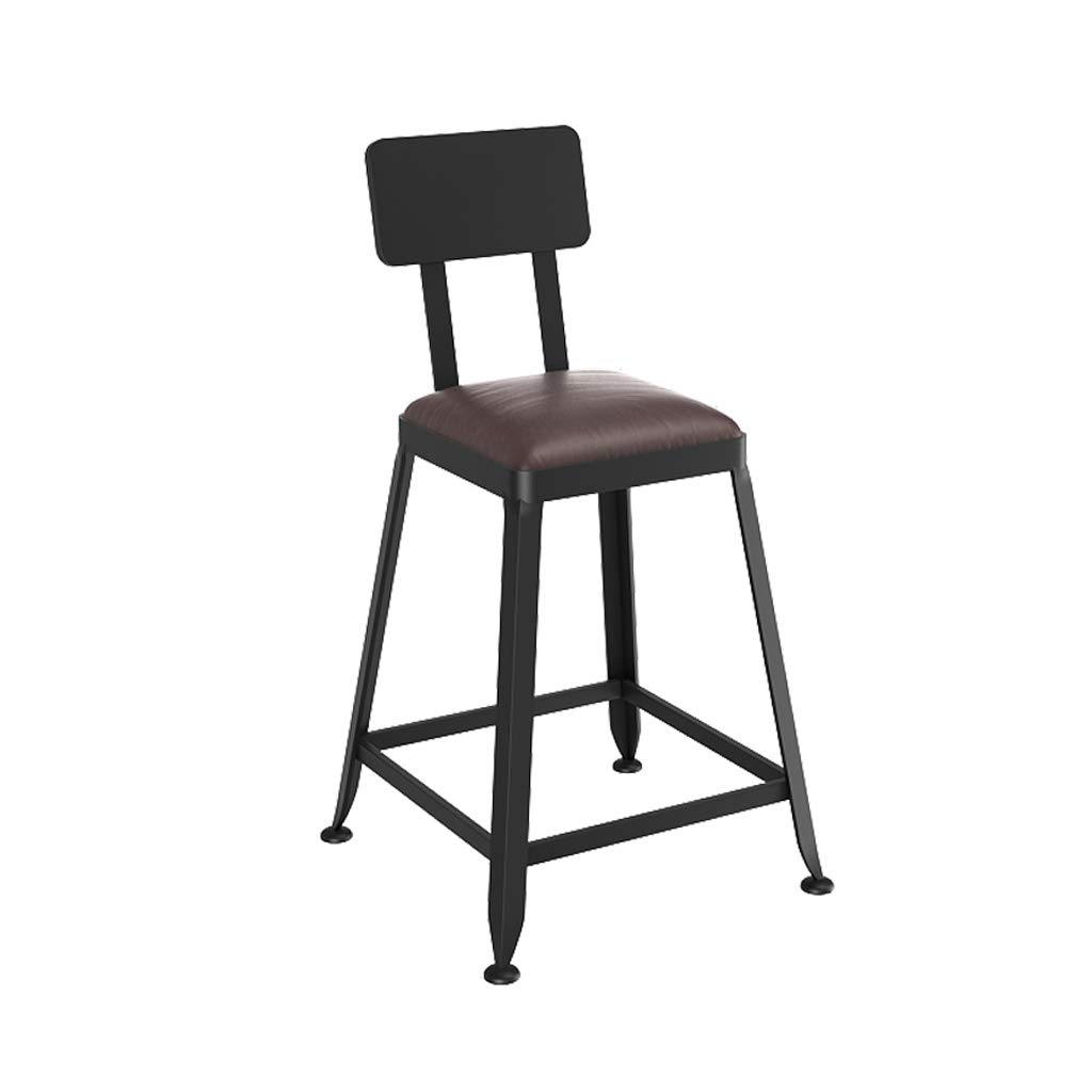 A 45cm Lxn Counter Black Height Stool Chairs, Industrial Retro Style Square Metal Bar Stools, Kitchen with backrest stools Comfortable Leather Padded Solid Wood seat (1- PCS)