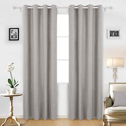 Deconovo Curtain Pair Solid Recycled Cotton Grommet Window Curtains for Home 52 W x 95 L Neutral Gray 2 Panels (Neutral Curtains)