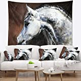 Designart TAP13288-39-32 'Gray Arabian Horse Watercolor' Abstract Tapestry Blanket Décor Wall Art for Home and Office, Medium: 39'' x 32''