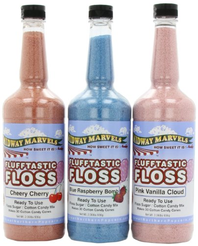 8513 Flufftastic 3 Pack Premium Cotton Candy Sugar Floss by Great Northern, Quart -