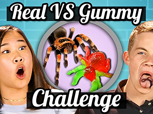 Real Food Vs. Gummy Food Challenge (Spider, Worms) | Teens Vs. Food