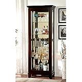 Furniture of America Phillip 5 Shelf Curio Cabinet in Dark Walnut