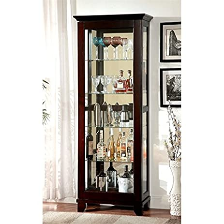 Amazon.com: Furniture of America Phillip 5 Shelf Curio Cabinet in ...
