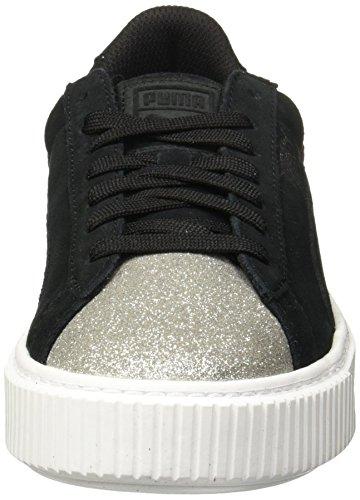 puma Glam Mixte Suede Platform Sneakers Silver Black Noir Basses puma Enfant Jr Puma E61gzWqE
