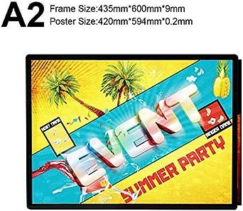 A1 / A2 / A3 / A4 Tamaños estándar Menú de Restaurante Caja de luz publicitaria Último diseño Tablero LED Caja de luz de Marco de Aluminio (Wattage : Black Frame A2): Amazon.es: Iluminación