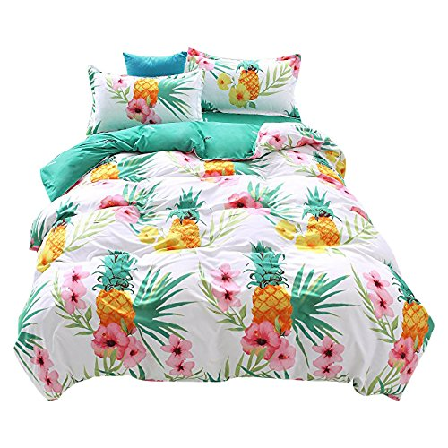 "Bedding Duvet Cover Sets 3-pieces Full/Queen Size(90""x90"") Microfiber,Pineapple Pink Flowers Green Leaves White Prints Floral Patterns,Without Comforter (Full/Queen, 1Duvet Cover+2Pillowcases-08)"