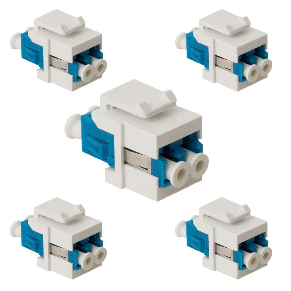 Patch Panels 5 Pack, LC USHANLIN LC Fiber Optic Adapter LC to LC Duplex Multimode 10GB F//F Keystone Coupler for Wall Plates Surface Mount Boxes