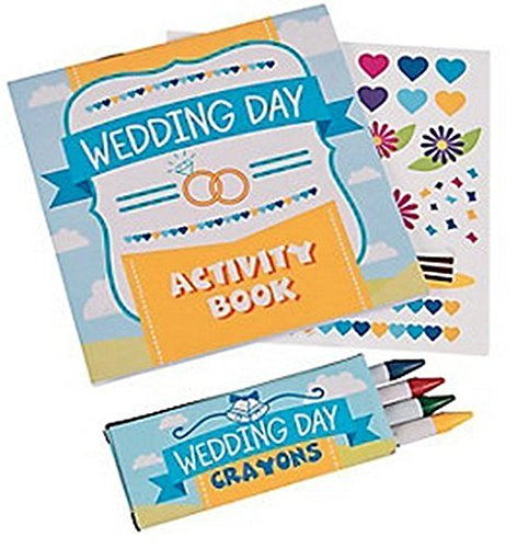 FX Children's Wedding Activity Books with Stickers and Crayons, 24 Sets -