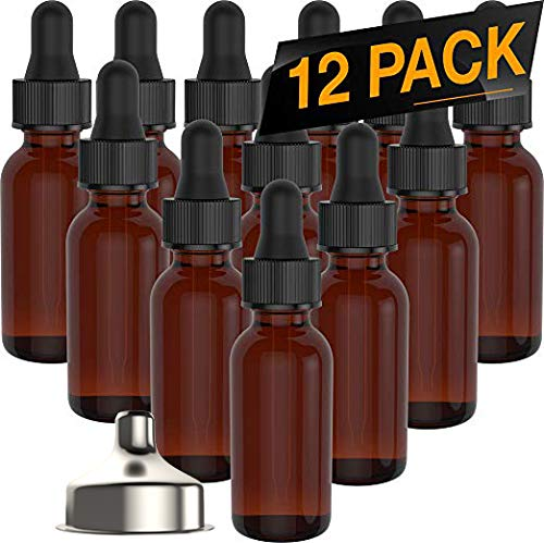 Essential Oil Roller Bottles - Round Boston Empty Refillable Amber Bottle with Glass Dropper [ Free Stainless Steel Funnel ] for Liquid Aromatherapy Fragrance Lot - (1/2 oz) 15ml (12 PACK) ()