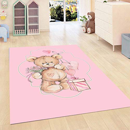Else Pink Floor Tedy Bears Pink Gift Box Hearts Girls 3D Print Non Slip Microfiber Kids Baby Room Decorative Area Rug Mat]()