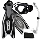 Cressi Frog Plus Fin Focus Silicone Mask Dry Snorkel Set, Black, X-Small/Small/Men' s 5-7/Women's 6-8