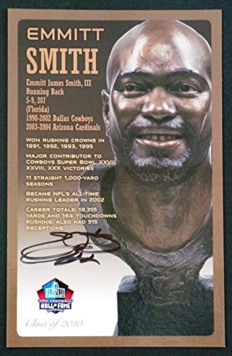 PRO FOOTBALL HALL OF FAME Emmitt Smith NFL Signed Bronze Bust Set Autographed Card with COA (Limited Edition #41 of ()