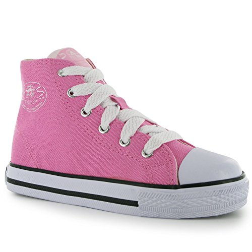 Dunlop Kinder Jungen Canvas High Top Sneaker Turnschuhe Freizeit Schuhe Rosa