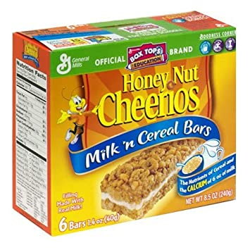 general mills milk u0027n cereal bars honey nut cheerios 6 bars per 85