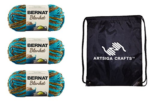 Bernat Knitting Yarn Blanket (3-Pack) Mallard Wood 161200-00203 Bundle with 1 Artsiga Crafts Project Bag
