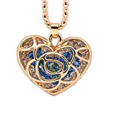 N.egret Golden Heart With crystal Charm Pendant Necklace Birthstone Jewelry Gift For Ladies (Jewelry)