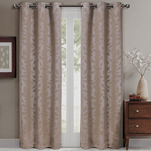 (Pair of Two Room Darkening Window Panels, Elegant and Contemporary Virginia Blackout Grommet Top Thermal Insulated Draperies. Set of Two Taupe 37