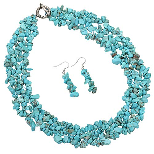 YACQ Natural Turquoise Gemstone 3 Layer Choker Necklace Dangle Earrings Sets Cluster Jewelry ()