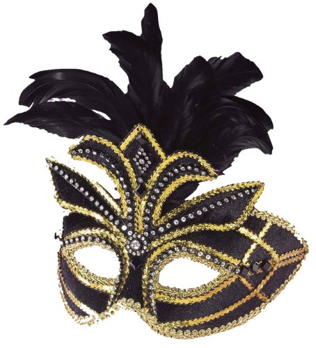 Forum Mardi Gras Half Mask With Feathers, Black/Gold, One Size (Gold Mardi Gras Mask)
