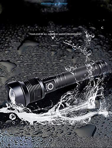 HBBOOI Two 26650 Battery Flashlights, Three Gears 800 Lumens Ipx8 Waterproof Long-range Led High Power Suitable for Outdoor Lighting Car Repair Camping, Black
