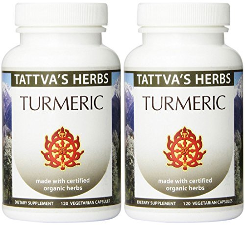 Organic Turmeric Herbal Supplement Non-GMO Holistic Extract- to Reduce Inflammation and Improve Overall Health 500 mg. 120 VCaps Pack of 2-120 ct. ea from Tattva s Herbs