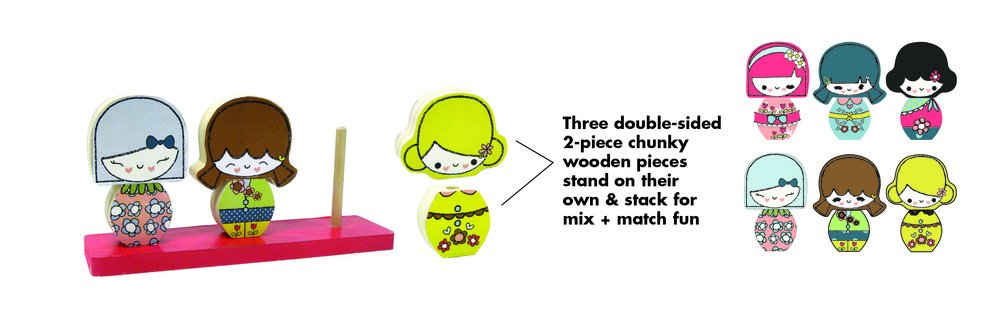 Innovative Kids Green Start Sweet Petites Wooden Toy Mix /& Match Stackers 697233003696