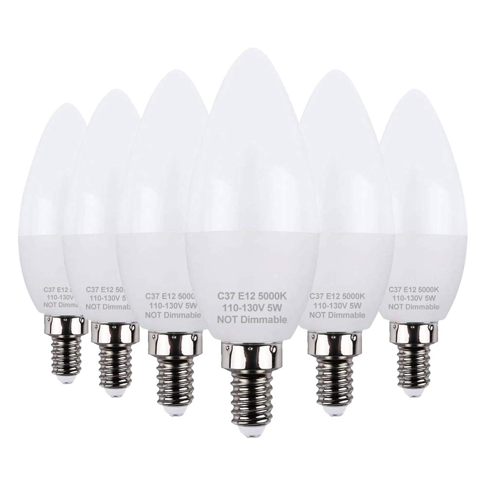KINDEEP led Candelabra Bulb 5w 40 Watt Equivalent e12 led Bulb Daylight 5000K Chandelier Bulbs Decorative Candle Base Non Dimmable LED Lamp LED Light Bulbs 6 Packs