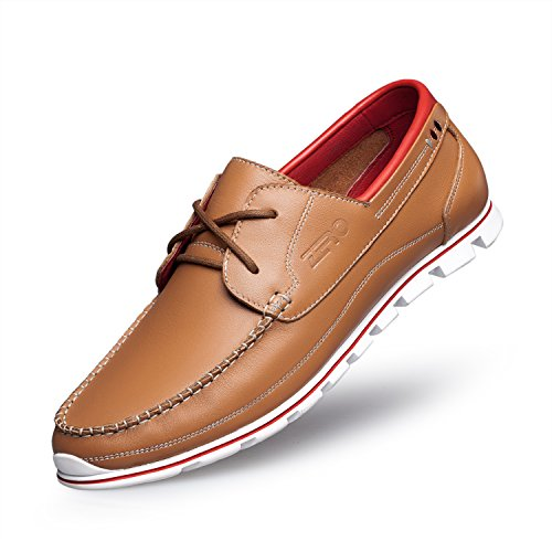 ZRO Men's Premium Genuine Leather Oxford Shoes Lace Up Casual LIGHT BROWN US 8.5 by ZRO (Image #8)