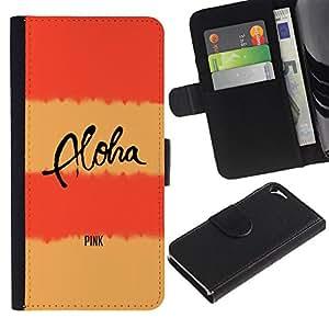 A-type (Peach Pink Aloha Text Lines Yellow) Colorida Impresión Funda Cuero Monedero Caja Bolsa Cubierta Caja Piel Card Slots Para Apple Iphone 5 / 5S