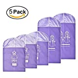 Dress Garment Bags Breathable Storage or Travel Suit Bag with Wide Range Clear Window Pack of 5, 3Medium and 2 Large