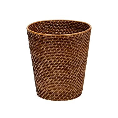 KOUBOO Round Rattan Waste Basket, Honey Brown