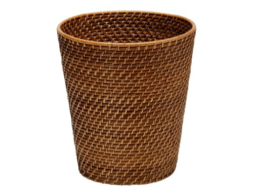 Kouboo Laguna Round Rattan Waste Basket, Honey Brown (Basket Rattan)