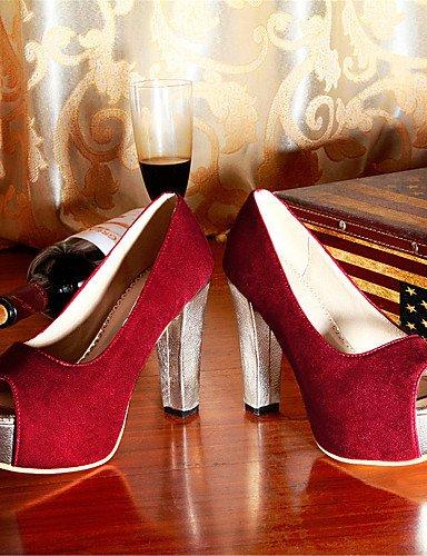 LFNLYX Zapatos de mujer-Tacón Robusto-Tacones / Punta Abierta-Sandalias-Boda / Vestido / Fiesta y Noche-Vellón-Negro / Azul / Rojo Blue