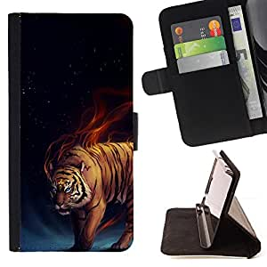 DEVIL CASE - FOR LG Nexus 5 D820 D821 - Tiger Fire Fiery Blue Darkness Black Animal - Style PU Leather Case Wallet Flip Stand Flap Closure Cover