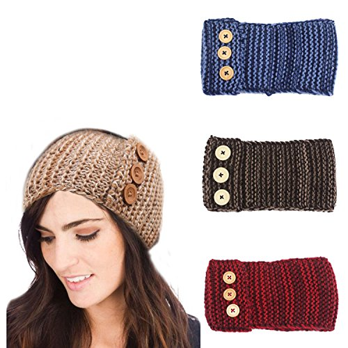 Ever Fairy Womens Cable Knit Hand Made Headband with Button Detail (3 Color Pack - A) (Handmade Fairies)