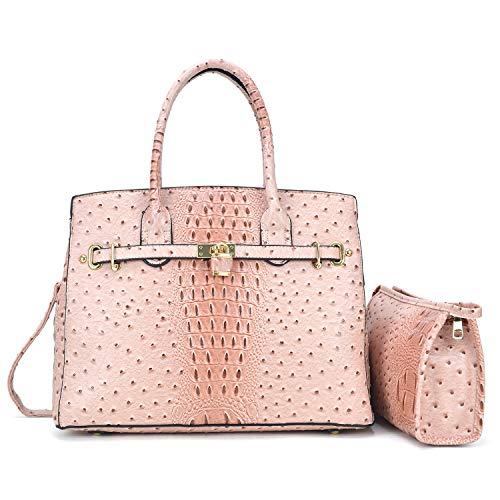 (Dasein Designer Satchel Handbags Vegan Leather Purses Shoulder Bags for Women with Shoulder Strap (02 Ostrich Style Blush + Cosmetic Bag) )