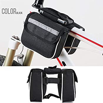 Bike Accessories Dartphew 1Pcs [ Cycling Front Frame Tube Handlebar Double Pouch Phone Bag – Bicycle Bike ] – Exquisite craftsmanship – (Size:14.5×4.5×11.0cm)