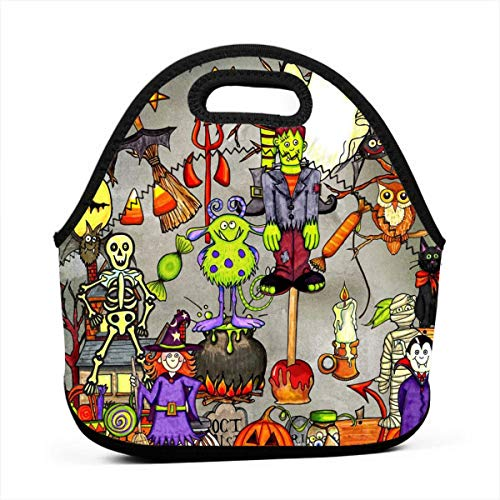 Uuiuou Halloween Themed Print Portable Bento Lunch Tote Large Hand Lunch Bag Baby Bag Satchel Outdoor Gift for Student Worker Travel