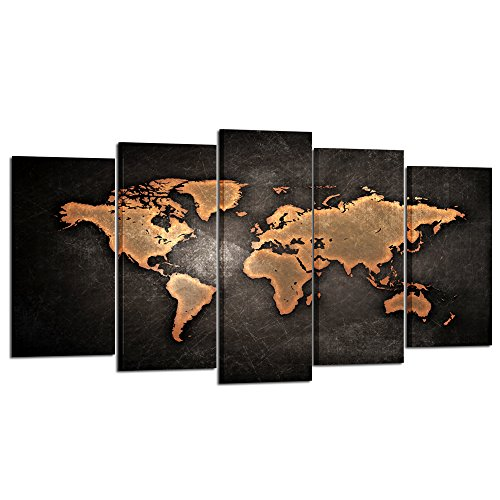 Kreative Arts - Retro World Map Poster Framed 5 Pcs Giclee C