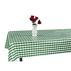 "Berrnour Home Vinyl Green Checkered Design 55"" X 102"" Indoor/Outdoor Tablecloth with Non-Woven Backing"