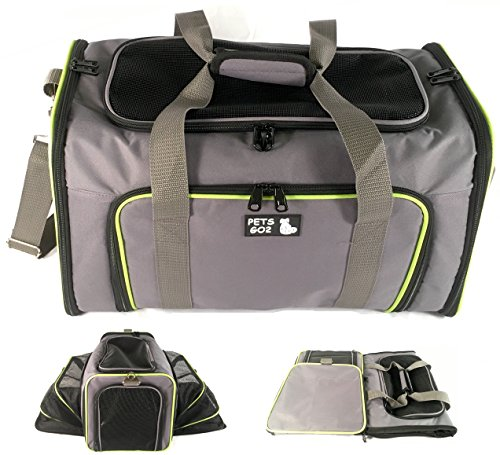 Premium Expandable Pet Carrier - Large (19x12x12), Soft-Sided, Dual Expansions, No Sag, Safe / Comfortable / Foldable / Airline Approved